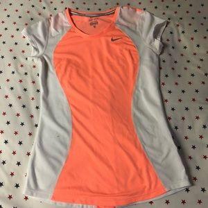 Nike Dri Fit White and Orange Tee